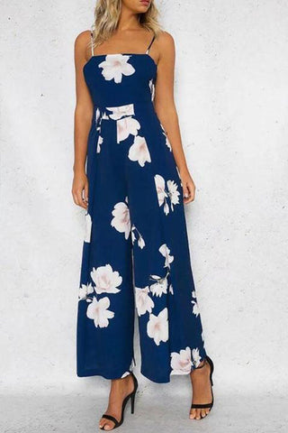Floral Spaghetti Strap Wide Leg Jumpsuit Rompers