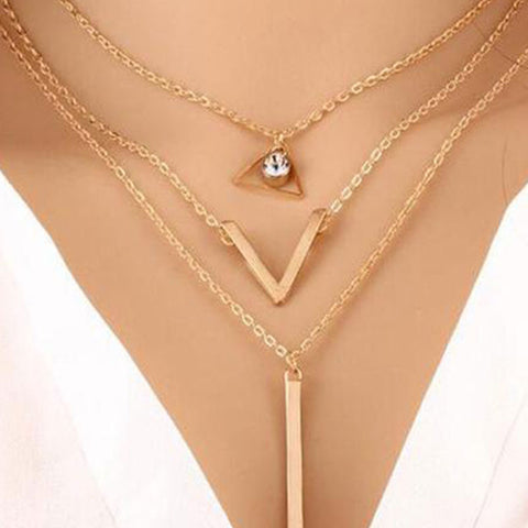 Three Pieces Long Metal Women Necklaces