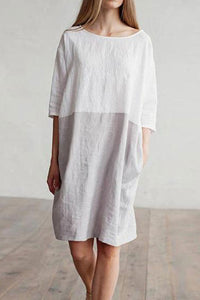 Solid Color Imitation Cotton And Linen Stitching Dress Round Neck Cropped Sleeve Skirt/Casual Dress