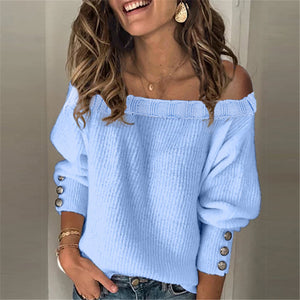 Ladies Fashion Solid Color Sweater