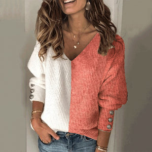 Women's fashion color matching V-neck sweater