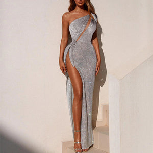 Sexy One Shoulder High Slit Evening Dress