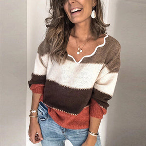 Women's Fashion Casual Contrast Knit Top Sweater