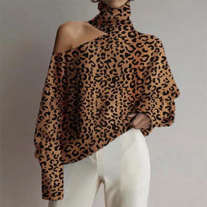 Women's turtleneck leopard print cutout sweater
