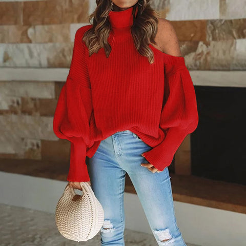 Female fashion solid color high-necked strapless lantern sleeve sweater