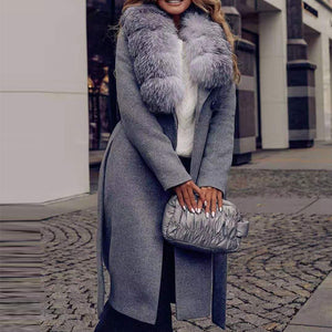Luxury fur collar grey long sleeve belt coat