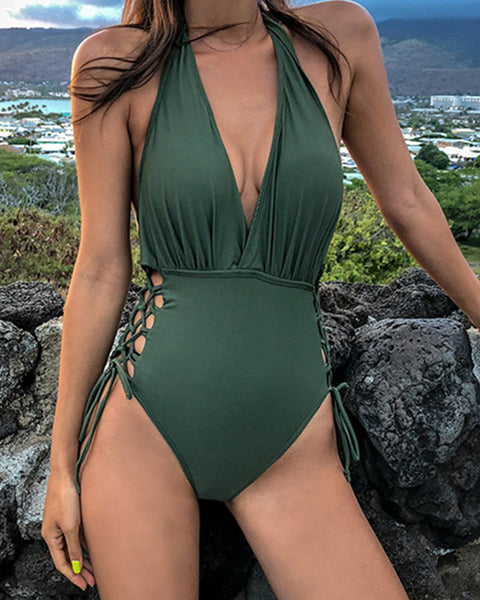 Lace-Up  Plain One Piece