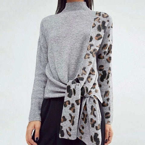 Modern Splicing Leopard Print Belted Long Sleeve Sweater