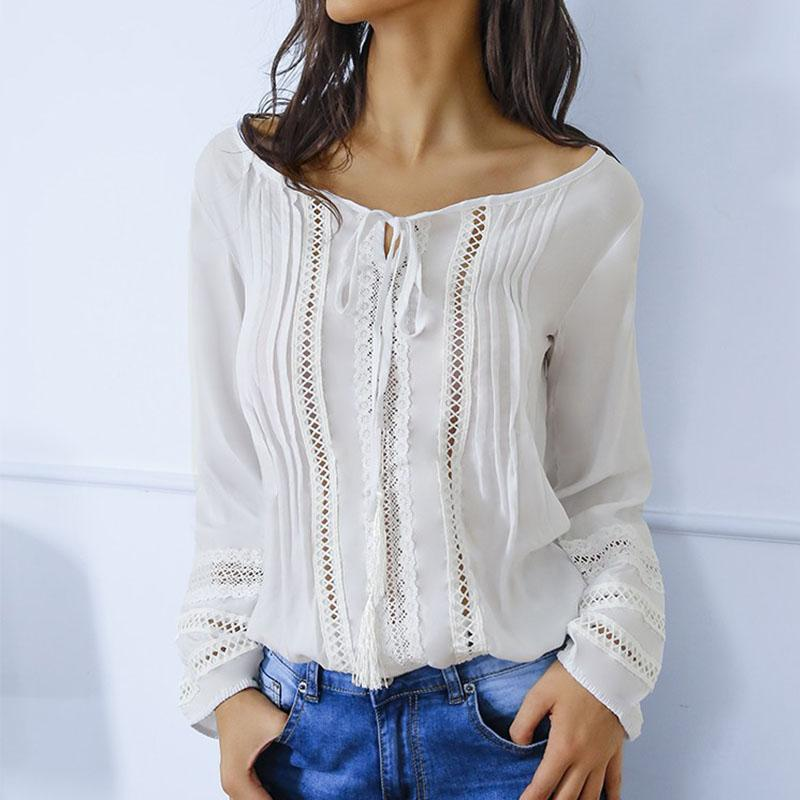 Round Neck Lace Patchwork Long Sleeve Elegant Blouses