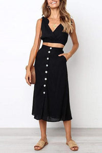 Sexy V Neck   Bare Midriff  Tube Top With Skirt Two Piece Set Casual Dress