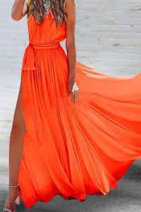 Sleeveless V-Neck Chiffon Elegant Vacation Maxi Dress