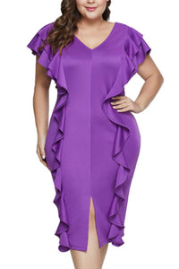 Plus-size Sexy Pure Color V Collars Flounces Dress