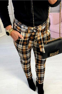 Plaid Printed Slim Pencil Pants