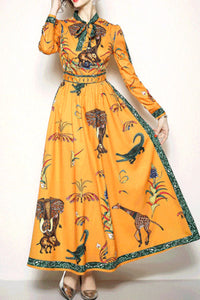 Ethnic Style Lapel Long Sleeves Floral Printed Maxi Dress
