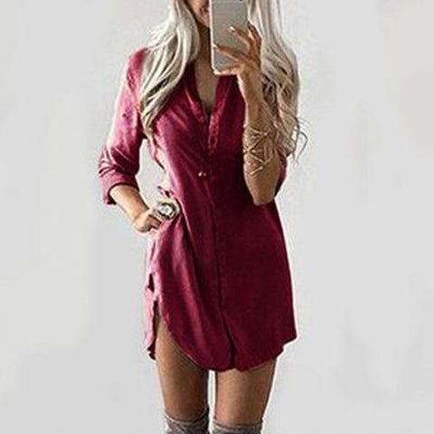 Long Sleeves Curved Hem Shirt Dress