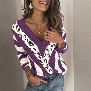 Womens V Neck Printed Colour leopard Sweater