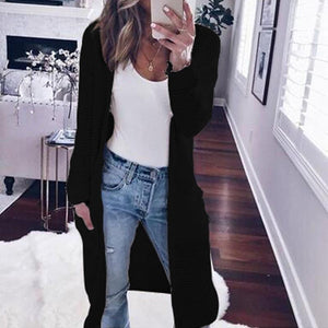 Fashion Long Sleeve Plain Pocket Cardigans