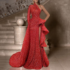 Fashion One Shoulder One Sleeve Solid Color Pleated Split Evening Dress