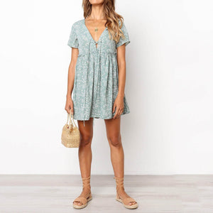 2019 Bohemia Style Printed Flounce Vacation Mini Dress