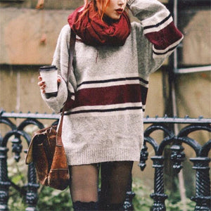 Casual Loose Stripst Knit Dress Sweater