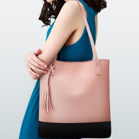 Spring New Bucket Type Color Tassel Shoulder Bag