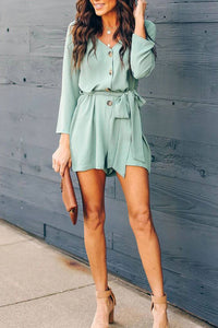 V-Neck Button Down Playsuit Jumpsuit