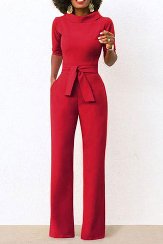 Short-Sleeved Solid Color Round Collar Jumpsuit With Belt