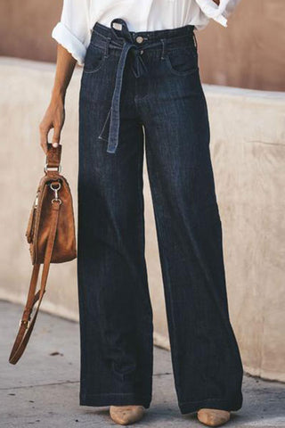 Loose Tie Straight Wide Leg Jeans