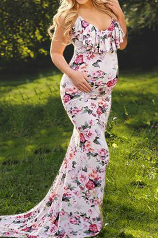 Maternity Floral Print Flounced Floor-Length Dress