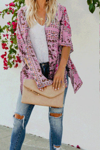 Fashion Casual Floral Printed Ethnic Cloak Tippet Cardigan