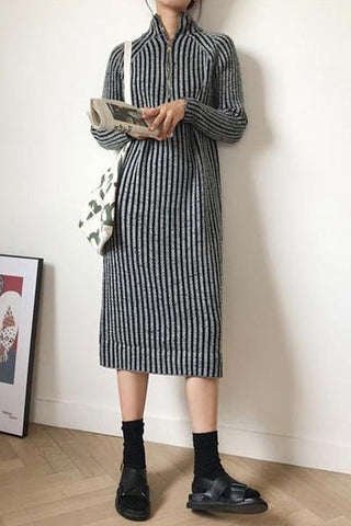 9ae97a0235 Casual Loose Half High Collar Mixed Color Knitted Sweater Dresses