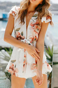 Sexy Deep V Collar Lotus Leaf Short-Sleeved Printed Short Floral Jumpsuit With Belt Rompers