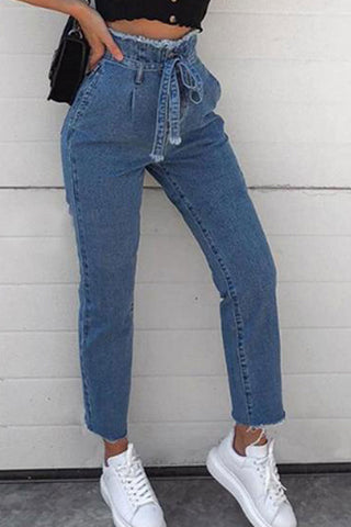 Drawstring  Belt Ripped  Light Wash Plain Jeans