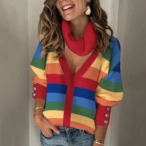 Fashion V-collar striped spell color knitted sweater