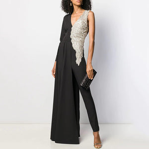 Fashion deep V-neck solid color single-sleeve stitching jumpsuit