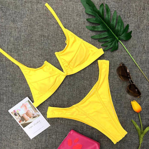 Sexy Solid Color V-neck Bikini One-piece Swimsuit