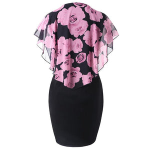 European And American Rose Patchwork Print Shawl Pack Hip Bodycon Dress