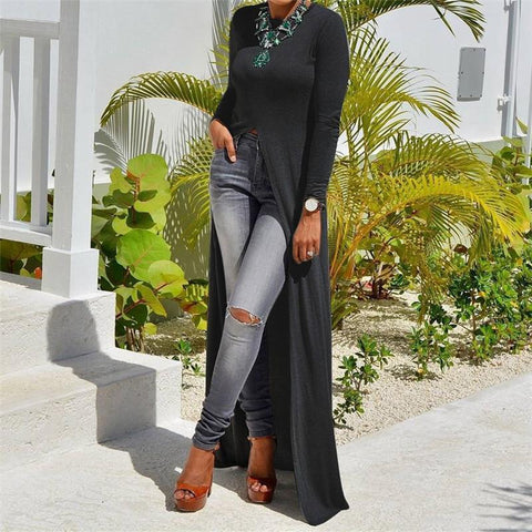 Fashion Sexy High Slit Long-Sleeved Shirt