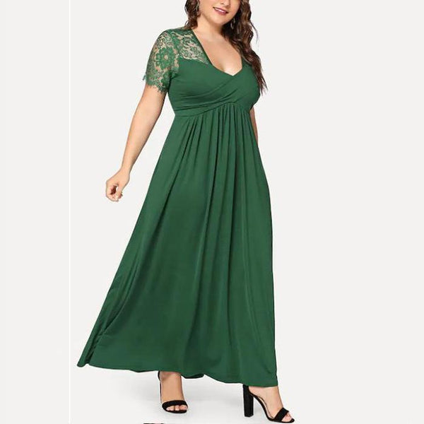 Plus-Size Lace Stitching Short Sleeve Dress