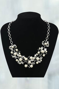 Alloy Inlaid With Imitation Rhinestone Beads Necklace