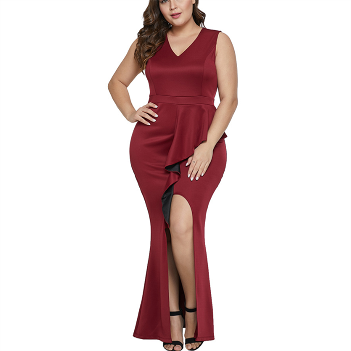 Plus-size Pure Color Sexy V-neck Sleeveless High-waisted Irregular Flouncing Bodycon Dress