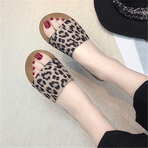 Fashion Round Head Leopard Flat Slippers
