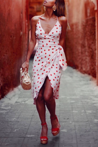 Elegant Polka Dot V Neck Slit Off-Shoulder Bodycon Dress