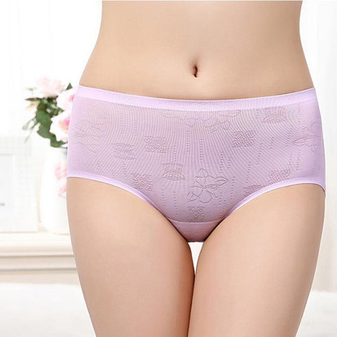 Ice silk waist one-piece seamless sexy breathable jacquard ladies triangle briefs