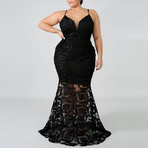 Plus-size Sling Jacquard Solid Color Evening Dress