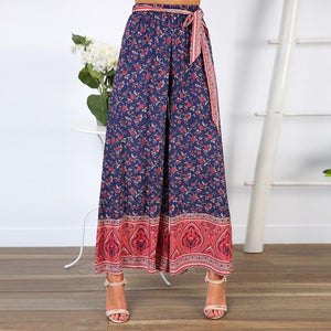 Sexy Sling Wrapped Chest Strap Wide Leg Pants Printed Two-Piece Set