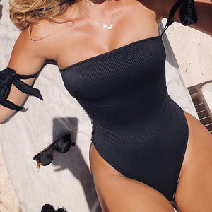 Sexy Halter Bikini Solid Color Lace One-piece Swimsuit