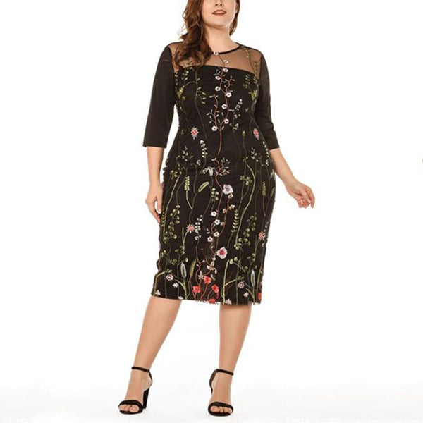 Plus Size Fashion Sexy Printing Mesh Splicing Bodycon Dress