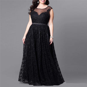 Plus Size Sexy Pure Color High Waist Long Lace Splicing Skater Dress