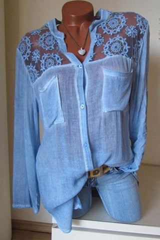 Cotton/Linen Lace Plain  Long Sleeve Blouse